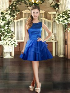 Royal Blue Ball Gowns Ruffled Layers Prom Evening Gown Lace Up Tulle Sleeveless Mini Length