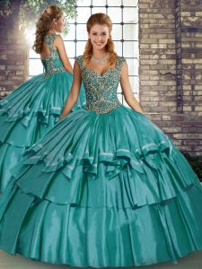 Exquisite Teal Ball Gowns Taffeta Straps Sleeveless Beading and Ruffled Layers Floor Length Lace Up Sweet 16 Quinceanera Dress