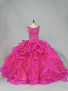 Best Hot Pink Lace Up Quinceanera Dress Beading and Ruffles Sleeveless Brush Train