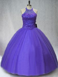 Sumptuous Purple Ball Gown Prom Dress Sweet 16 and Quinceanera with Beading Halter Top Sleeveless Lace Up