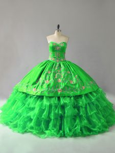 Stunning Ball Gowns Sweetheart Sleeveless Organza Floor Length Lace Up Embroidery and Ruffles Quinceanera Gowns