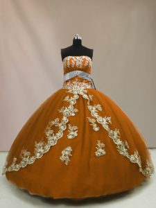 Flirting Ball Gowns 15 Quinceanera Dress Brown Strapless Tulle Sleeveless Floor Length Lace Up