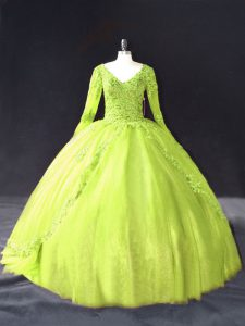 Simple Yellow Green Ball Gowns Lace and Appliques Sweet 16 Quinceanera Dress Lace Up Tulle Long Sleeves Floor Length
