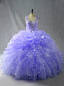 Sweet Lavender Ball Gowns Straps Sleeveless Organza Floor Length Zipper Beading and Ruffles Sweet 16 Dress