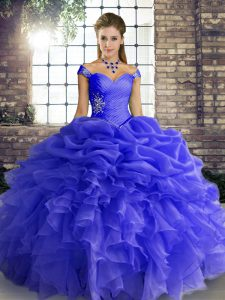 Fancy Floor Length Ball Gowns Sleeveless Blue Sweet 16 Quinceanera Dress Lace Up