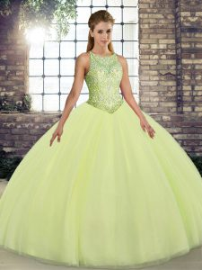 Yellow Green Tulle Lace Up Scoop Sleeveless Floor Length Sweet 16 Quinceanera Dress Embroidery