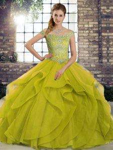 Off The Shoulder Sleeveless Tulle Sweet 16 Dress Beading and Ruffles Brush Train Lace Up
