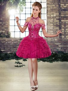 Fantastic Fuchsia Halter Top Lace Up Beading and Ruffles Dress for Prom Sleeveless