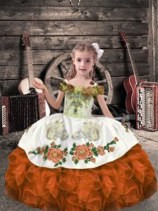 Sweet Orange Red Sleeveless Organza Lace Up Pageant Gowns for Wedding Party