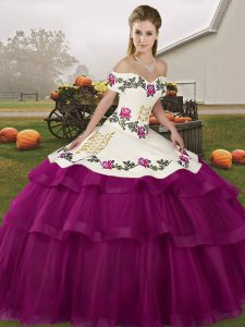 High Class Fuchsia Sleeveless Brush Train Embroidery and Ruffled Layers Quinceanera Gowns
