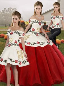 Fitting Embroidery Quince Ball Gowns White And Red Lace Up Sleeveless Floor Length