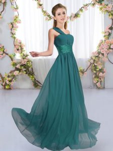 Great Floor Length Lace Up Bridesmaid Dress Peacock Green for Wedding Party with Ruching