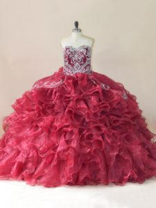 On Sale Ball Gowns Sleeveless Wine Red 15 Quinceanera Dress Brush Train Lace Up