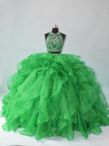 Clearance Beading and Ruffles Sweet 16 Quinceanera Dress Green Backless Sleeveless Floor Length