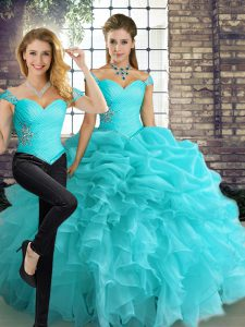 Aqua Blue Two Pieces Off The Shoulder Sleeveless Organza Floor Length Lace Up Beading and Ruffles and Pick Ups Quinceanera Dresses