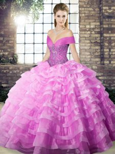Lilac Organza Lace Up Off The Shoulder Sleeveless Vestidos de Quinceanera Brush Train Beading and Ruffled Layers