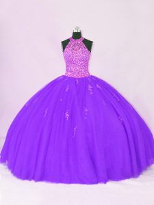 Hot Sale Sleeveless Organza Floor Length Lace Up Quinceanera Gown in Purple with Beading and Appliques