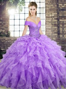 Best Selling Lavender Sleeveless Brush Train Beading and Ruffles Quinceanera Gown