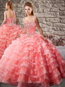 Watermelon Red Quinceanera Dress Straps Sleeveless Court Train Lace Up