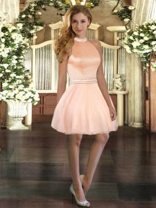 Luxury Mini Length Peach Prom Evening Gown Organza Sleeveless Beading
