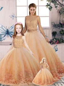 Sweep Train Two Pieces Sweet 16 Dresses Peach Scalloped Tulle Sleeveless Backless