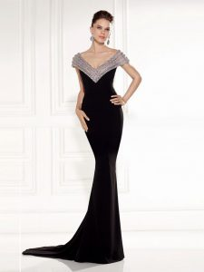 Backless Womens Evening Dresses Black for Prom and Party and Military Ball with Beading Brush Train