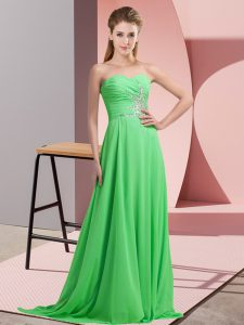 Super Sleeveless Chiffon Floor Length Lace Up Prom Dresses in with Beading and Ruching