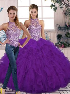 Cute Beading and Ruffles 15th Birthday Dress Purple Lace Up Sleeveless Floor Length