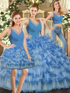Ruffles and Ruffled Layers Sweet 16 Quinceanera Dress Blue Backless Sleeveless Floor Length