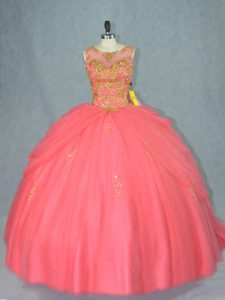 Gorgeous Scoop Sleeveless Tulle Ball Gown Prom Dress Beading Brush Train Lace Up