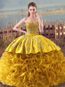 Romantic Gold Ball Gowns Fabric With Rolling Flowers Sweetheart Sleeveless Embroidery and Ruffles Floor Length Lace Up 15 Quinceanera Dress