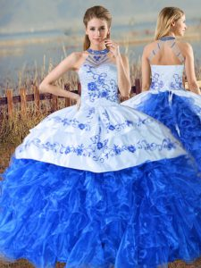 Royal Blue Ball Gowns Organza Halter Top Sleeveless Embroidery and Ruffles Lace Up Sweet 16 Quinceanera Dress Court Train