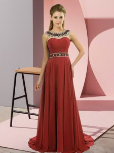 Spectacular Rust Red Scoop Neckline Beading Prom Dress Sleeveless Zipper