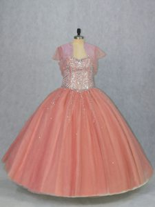 Watermelon Red Sleeveless Floor Length Beading Lace Up Quince Ball Gowns