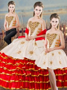 Modern White And Red Lace Up Sweetheart Beading and Ruffled Layers Quinceanera Dress Organza Sleeveless