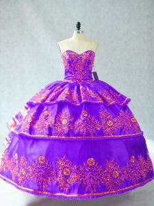 Purple 15th Birthday Dress Sweet 16 and Quinceanera with Embroidery and Ruffled Layers Sweetheart Sleeveless Lace Up