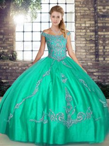 Beauteous Turquoise Sweet 16 Dresses Military Ball and Sweet 16 and Quinceanera with Beading and Embroidery Off The Shoulder Sleeveless Lace Up