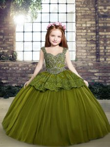 Olive Green Straps Neckline Beading Winning Pageant Gowns Sleeveless Lace Up