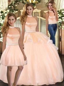 Sleeveless Floor Length Beading Backless Quinceanera Gowns with Peach