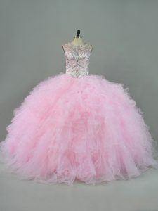 Beauteous Scoop Sleeveless Lace Up Sweet 16 Dresses Baby Pink Tulle