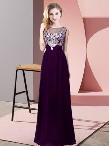Best Selling Purple Empire Beading Evening Dress Backless Chiffon Sleeveless Floor Length