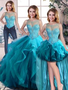 Beading and Ruffles 15 Quinceanera Dress Aqua Blue Lace Up Sleeveless Floor Length