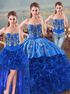 Sweetheart Sleeveless Lace Up Quinceanera Gown Royal Blue Fabric With Rolling Flowers