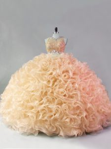 Gold Quinceanera Gowns Sweet 16 and Quinceanera with Beading and Ruffles Scoop Sleeveless Zipper