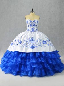Blue And White Sweetheart Lace Up Embroidery and Ruffled Layers Sweet 16 Quinceanera Dress Sleeveless