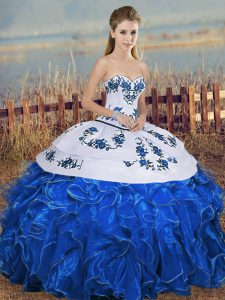 Ideal Blue And White Organza Lace Up Sweetheart Sleeveless Floor Length 15th Birthday Dress Embroidery and Ruffles and Bowknot