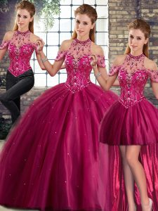 Fashion Fuchsia Three Pieces Tulle Halter Top Sleeveless Beading Lace Up Quinceanera Dress Brush Train
