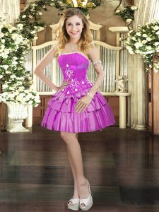 Fuchsia Strapless Neckline Beading and Ruffled Layers Prom Evening Gown Sleeveless Lace Up