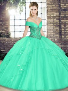 Inexpensive Apple Green Sleeveless Beading and Ruffles Floor Length Vestidos de Quinceanera