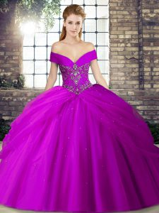 Purple Quinceanera Gown Military Ball and Sweet 16 and Quinceanera with Beading and Pick Ups Off The Shoulder Sleeveless Brush Train Lace Up